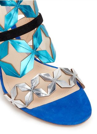 Detail View - Click To Enlarge - Nicholas Kirkwood - 'Stella' star cutout metallic leather sandals