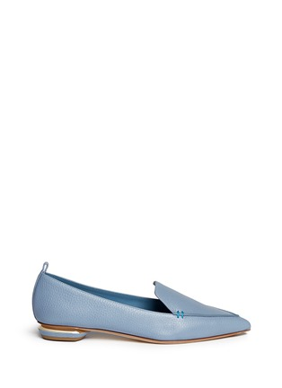 Main View - Click To Enlarge - Nicholas Kirkwood - 'Beya Bottalato' metal heel leather skimmer loafers