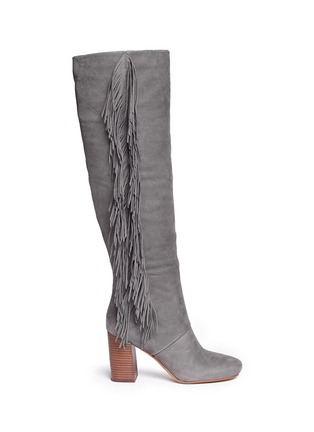 Main View - Click To Enlarge - Sam Edelman - 'Taylan' fringe suede knee high boots