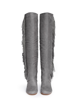 Figure View - Click To Enlarge - Sam Edelman - 'Taylan' fringe suede knee high boots