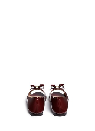 Back View - Click To Enlarge - Tory Burch - Bow patent leather peep toe flats