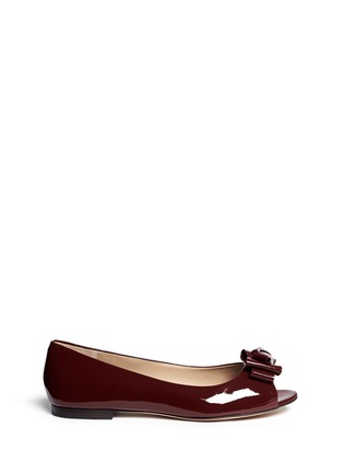 Main View - Click To Enlarge - Tory Burch - Bow patent leather peep toe flats