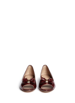 Figure View - Click To Enlarge - Tory Burch - Bow patent leather peep toe flats