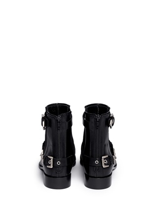 Back View - Click To Enlarge - MSGM - Fringe multi buckle leather ankle boots