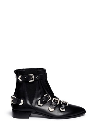 Main View - Click To Enlarge - MSGM - Fringe multi buckle leather ankle boots
