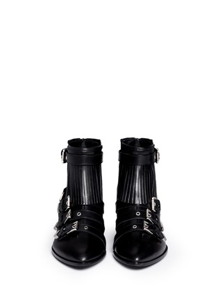 Figure View - Click To Enlarge - MSGM - Fringe multi buckle leather ankle boots