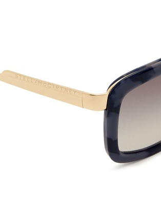 Detail View - Click To Enlarge - Stella McCartney - Marble print wire temple acetate sunglasses