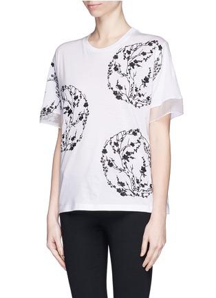 正面 -点击放大 - ALEXANDER MCQUEEN - Blossom embroidery organza sleeve T-shirt