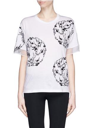 首图 - 点击放大 - ALEXANDER MCQUEEN - Blossom embroidery organza sleeve T-shirt