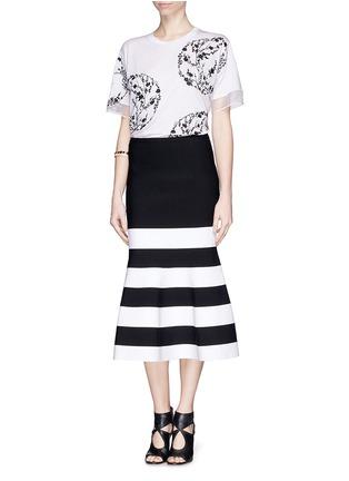 Alexander McQueen-Blossom embroidery organza sleeve T-shirt
