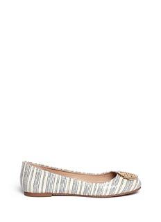 TORY BURCH'Reva' snake embossed stripe leather ballerina flats