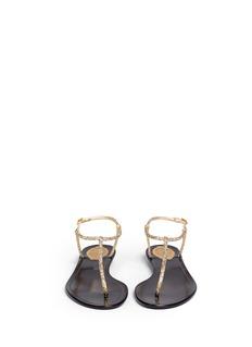 RENÉ CAOVILLAStrass satin T-strap flat sandals