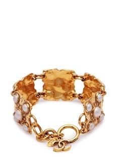 Vintage Chanel Faux pearl square link bracelet