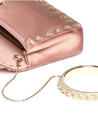 Detail View - Click To Enlarge - Valentino - Rockstud Bal crystal pavé wristlet clutch
