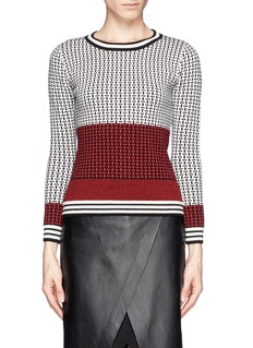 DIANE VON FURSTENBERG Colourblock basketweave pattern wool sweater