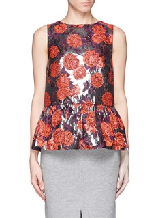 J. CREW Collection metallic floral peplum top