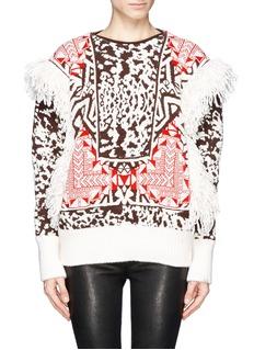 EMILIO PUCCITribal jacquard knit fringe navajo sweater