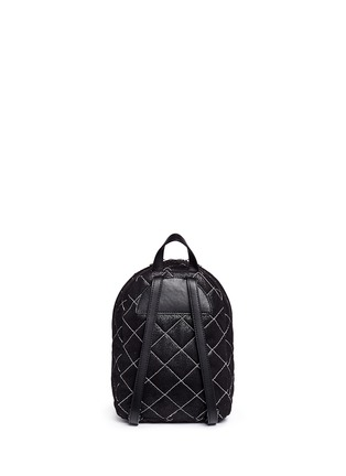 Back View - Click To Enlarge - Stella McCartney - 'Falabella' mini quilted shaggy deer chain backpack