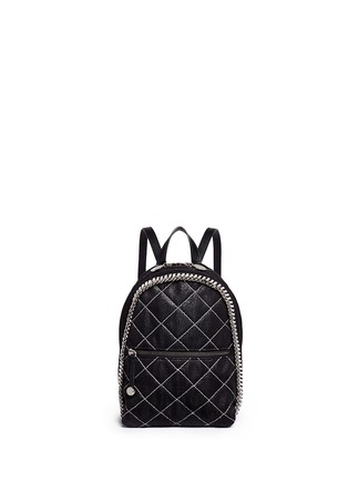 Main View - Click To Enlarge - Stella McCartney - 'Falabella' mini quilted shaggy deer chain backpack