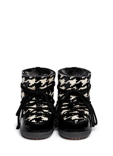 IKKII'Gloss Low' houndstooth lambskin shearling boots