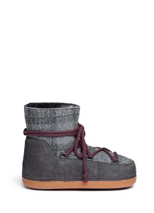 Main View - Click To Enlarge - INUIKII - 'Scottish Low' tartan felt lambskin shearling boots