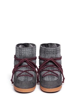 Figure View - Click To Enlarge - INUIKII - 'Scottish Low' tartan felt lambskin shearling boots