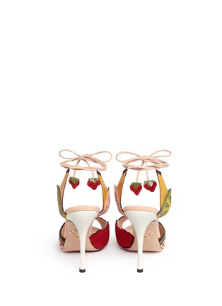 Back View - Click To Enlarge - Charlotte Olympia - 'Fruit Salad' ankle tie suede sandals