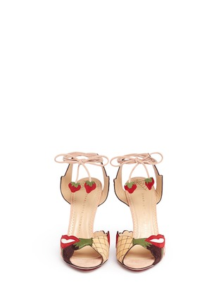 Front View - Click To Enlarge - Charlotte Olympia - 'Fruit Salad' ankle tie suede sandals