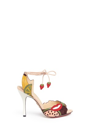 Main View - Click To Enlarge - Charlotte Olympia - 'Fruit Salad' ankle tie suede sandals