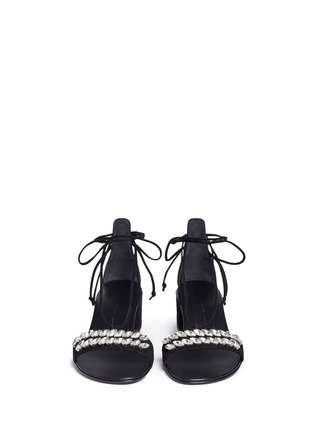 Front View - Click To Enlarge - Giuseppe Zanotti Design - 'Roll 40 Sand' glass crystal ankle tie suede sandals