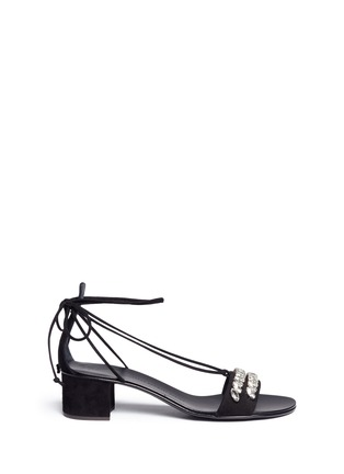 Main View - Click To Enlarge - Giuseppe Zanotti Design - 'Roll 40 Sand' glass crystal ankle tie suede sandals