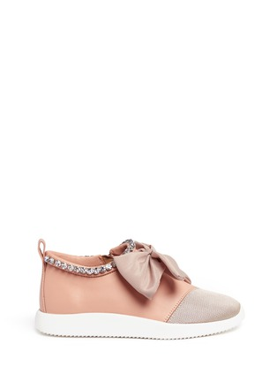 Main View - Click To Enlarge - Giuseppe Zanotti Design - 'Singleg' jewelled collar bow leather sneakers