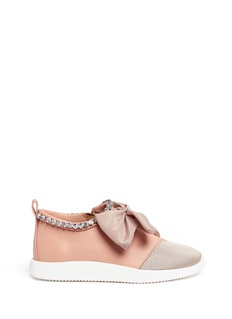 Giuseppe Zanotti Design'Singleg' jewelled collar bow leather sneakers