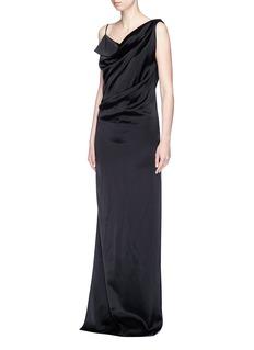 LanvinOpen back asymmetric drape satin dress