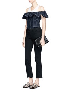 T By Alexander Wang Stripe off-shoulder cropped burlap top
