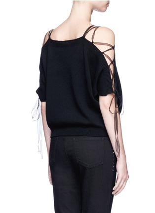 Back View - Click To Enlarge - Valentino - Lace-up cold shoulder cashmere sweater