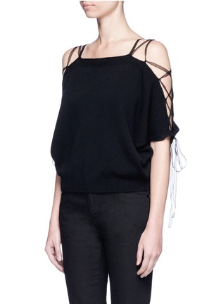 Front View - Click To Enlarge - Valentino - Lace-up cold shoulder cashmere sweater