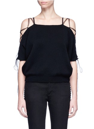 Main View - Click To Enlarge - Valentino - Lace-up cold shoulder cashmere sweater