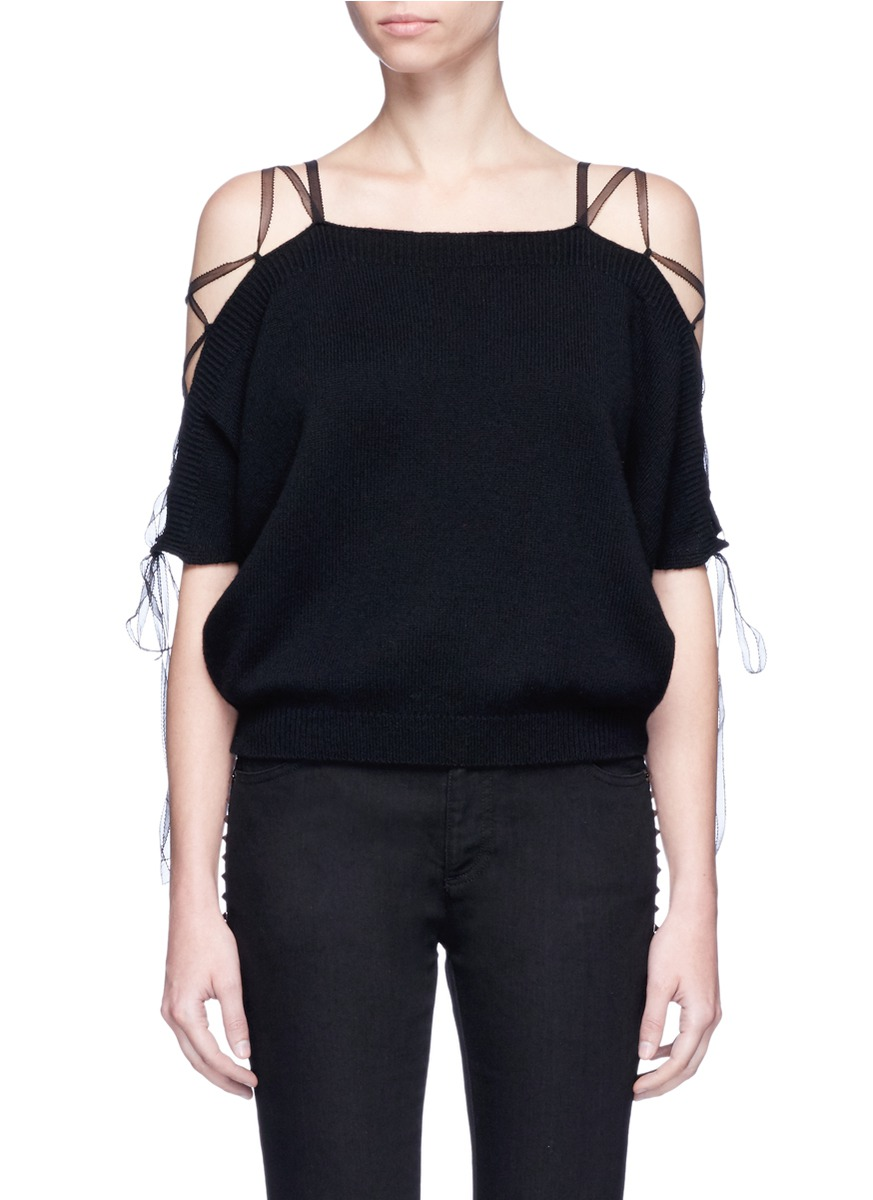 Lace-up cold shoulder cashmere sweater by Valentino
