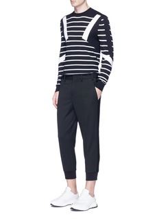 Neil BarrettStripe trim slim fit cropped pants