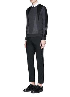 Neil Barrett'Abstract Modernist' intarsia Merino wool sweater