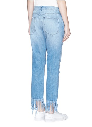 Back View - Click To Enlarge - 3x1 - 'WM3' fringe cuff distressed cropped jeans