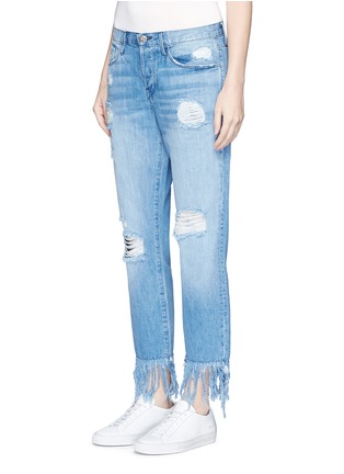Front View - Click To Enlarge - 3x1 - 'WM3' fringe cuff distressed cropped jeans