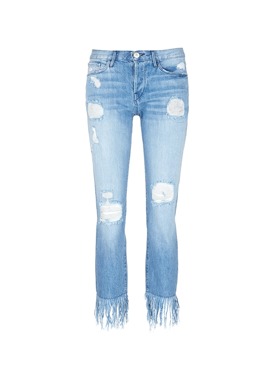 WM3 fringe cuff distressed cropped jeans by 3×1
