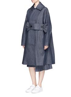Shushu/TongRuffle trim waistband oversized denim coat
