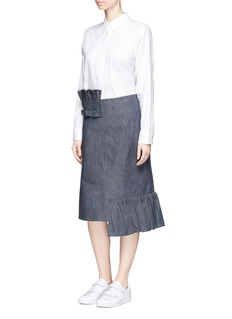 Shushu/Tong Ruffle trim irregular hem denim skirt