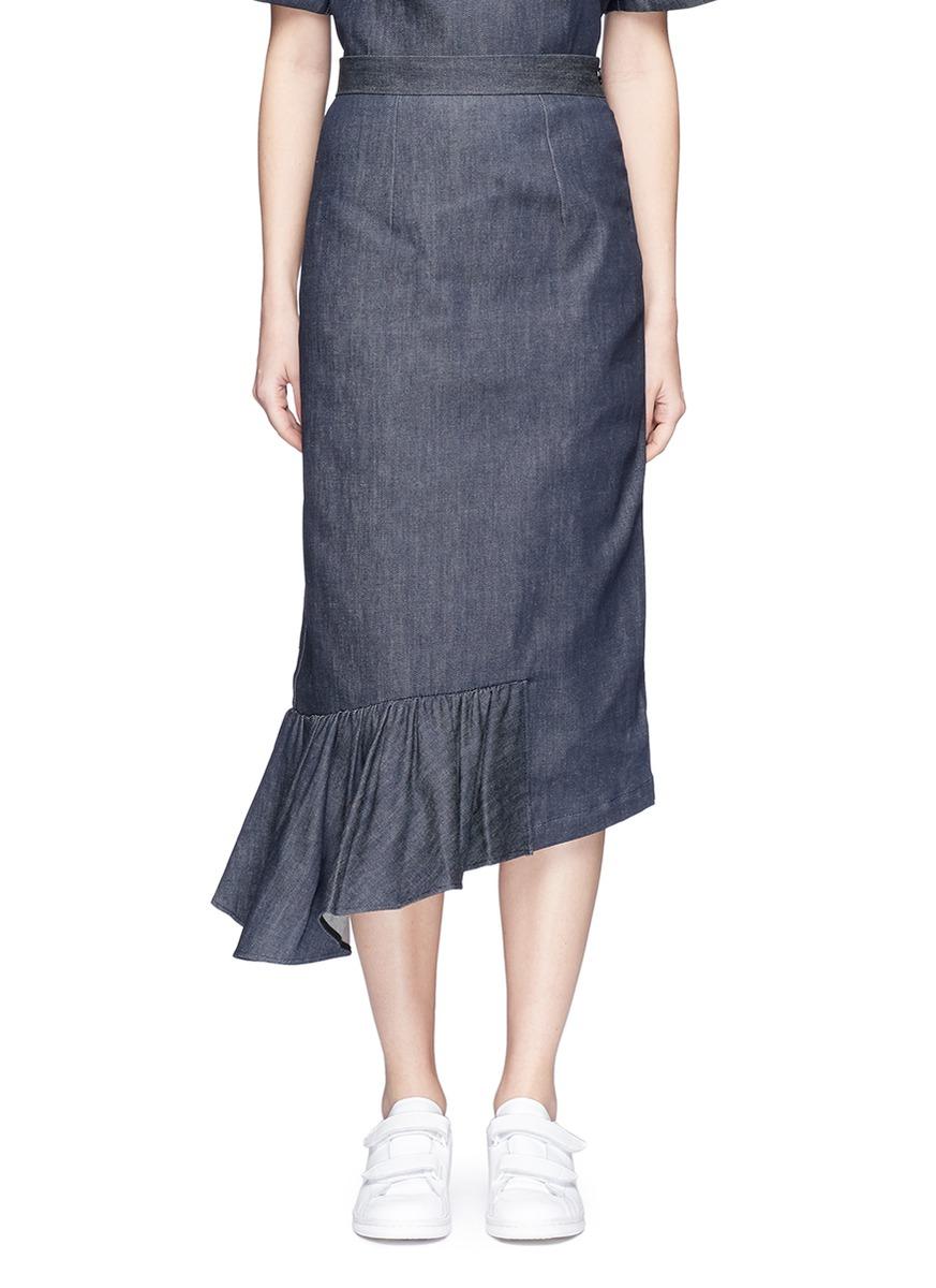 Asymmetric ruffle hem denim midi skirt by Shushu/Tong