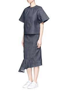 Shushu/TongAsymmetric ruffle hem denim midi skirt