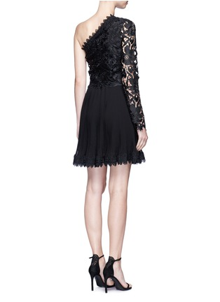 Back View - Click To Enlarge - Nicholas - Botanical lace one shoulder pleated mini dress
