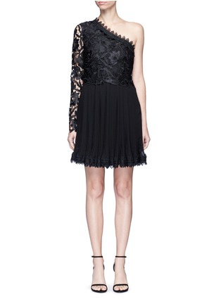 Main View - Click To Enlarge - Nicholas - Botanical lace one shoulder pleated mini dress
